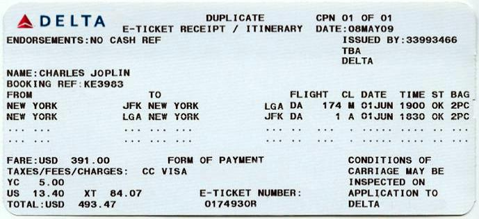 Plane ticket for Jules Marquis from JFK to LGA.