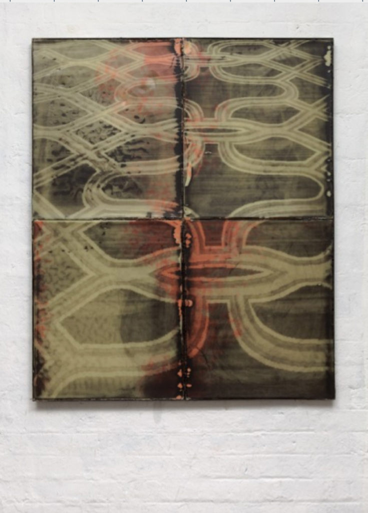 "Ruairiadh O'Connell, ""The Venetian,"" 2014. Silkscreen on wax in welded steel tray, 47 in. x 39 in. Courtesy of the artist and Jessica Silverman Gallery."