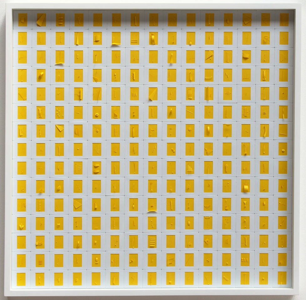 "Marco Maggi, ""Monochrome (Solar Yellow),"" 2014. Cuts and folds on 225 35mm papers in slide mounts, 30 in. x 30 in. Courtesy of Hosfelt Gallery."