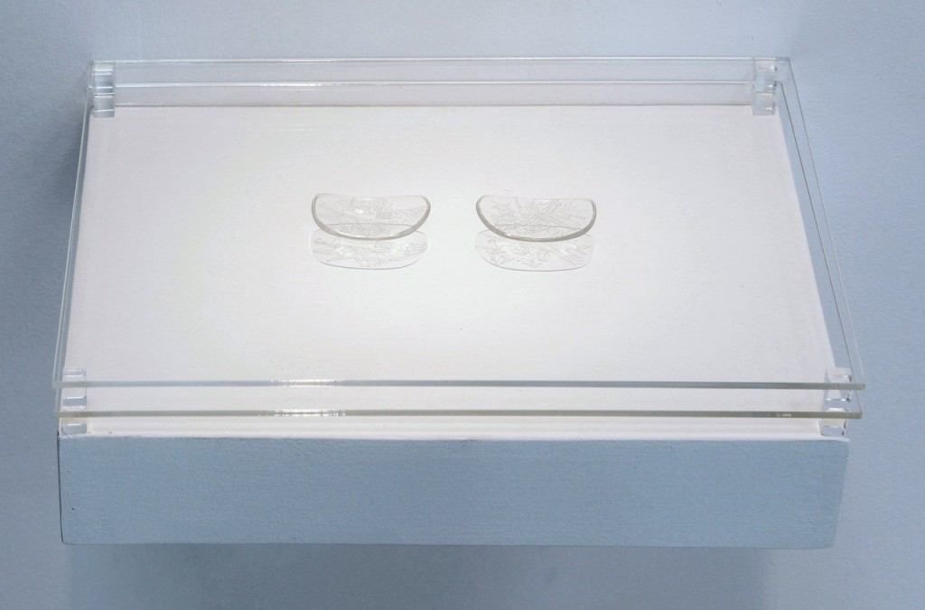 "Marco Maggi, ""Points of View (Drawing Glasses),"" 2013–2014. Dry point on reading glass lenses on shelf. Courtesy of Hosfelt Gallery."