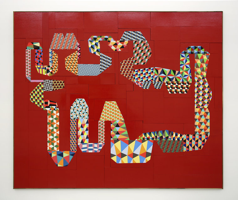 """Barry McGee, """"Untitled"""", Paint on panel; 88 elements, 105 1/2 x 124 inches, 2014."""