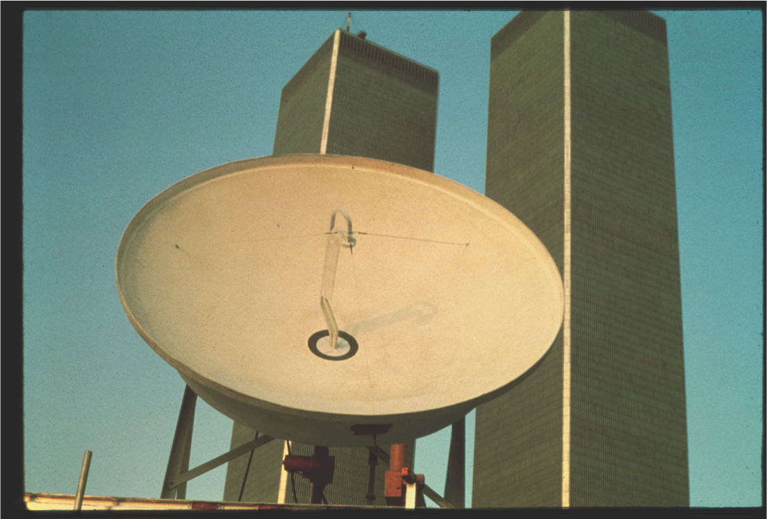 """Send/Receive,"" NYC Uplink Site: September 11, 1977. Photograph by Keith Sonnier. Courtesy of the artist"