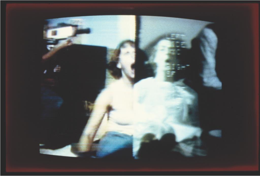 """Send/Receive,"" September 11, 1977. Split-screen image New York/San Francisco. Nancy Lewis (NYC) & Margaret Fisher (SF) Photograph by Gwenn Thomas. Courtesy of the artist."