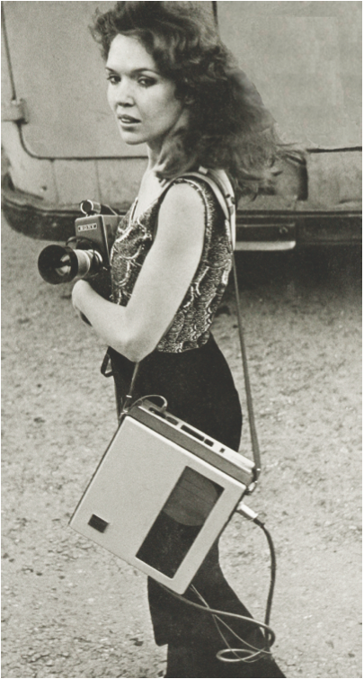 Sharon Grace, c.1970, with her Sony CV Porta Pack. Courtesy of the artist.