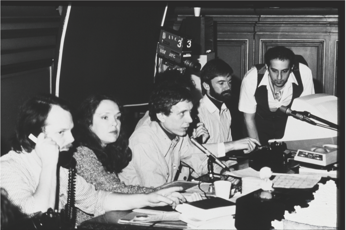 [Left to right] Bill Bartlett, Sharon Grace, Carl Loeffler, Brendan O'Reagan, and Art Kleiner.Artists' Use of Telecommunications Conference at SFMOMA, February 16, 1980.