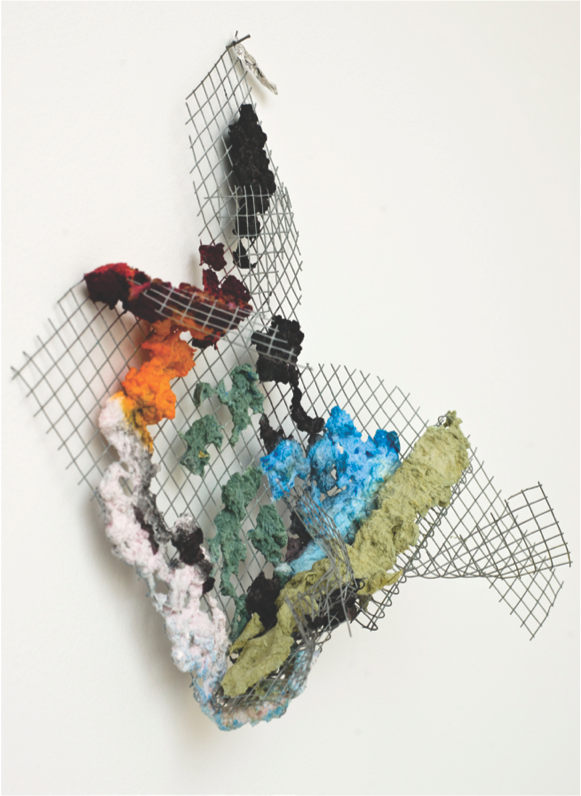 """Richard Tuttle, """"The Place in the Window, II,"""" 2013.Wire, mesh wall sculpture, 17.75 x 21.25 x 5.75 inches. Courtesy of Marian Goodman Gallery, New York / Paris."""