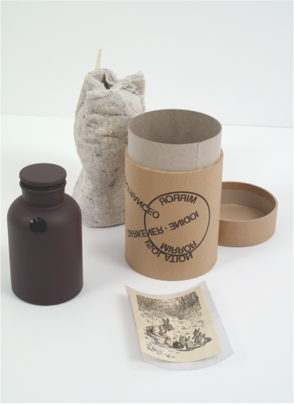 "Joseph Beuys, ""Mirror Piece,"" from ""Mirrors of the Mind,"" 1975. Brown lacquered flask with iodine crystal mirror-plated interior, 7.25 x 4.25 inches. Published by Multiples, Inc. and Castelli Graphics, New York. Courtesy of Marian Goodman Gallery, New York / Paris."