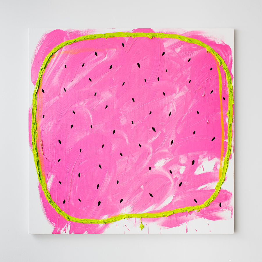 Jason Stopa, Watermelon with KB,  Oil and enamel on canvas, 36 x 36 inches,  2013. Courtesy of Novella Gallery.