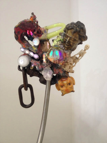 "Tony Oursler, Adumbration Affray, steel stand, projection and mixed media, 24"" x 12"" x 12"", 2013. Courtesy of Gallery Paule Anglim."