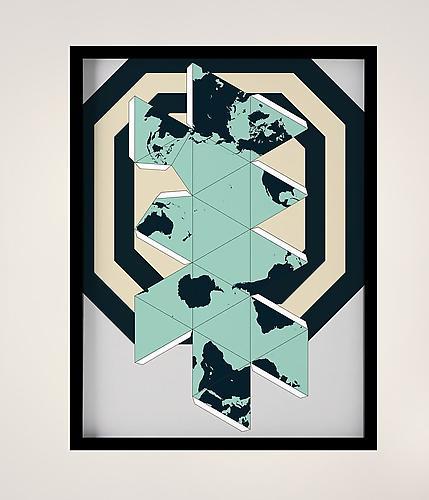 """Sinta Tantra, """"Dymaxion: Dynamic, Maximum, Tension,"""" screen print, 39 x 27.5 inches, 2012. Courtesy of William Holman Gallery."""