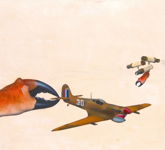 Rick Newton, Spitfire, oil and acrylic on panel, 15 x 14 in., 2014