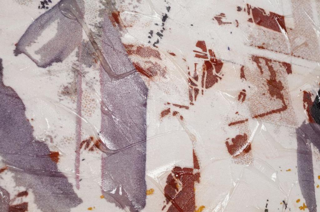 "Jonas Lund, ""Flip City 09,"" 2014. Digital painting on canvas, gel medium and GPS tracker. Courtesy Steve Turner Contemporary"