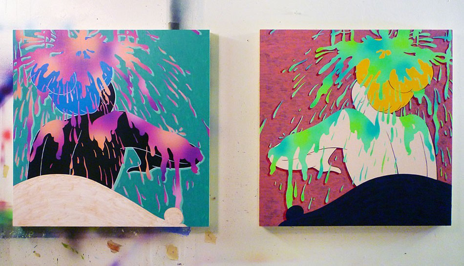 "Michael Dotson, ""Showered,"" Acrylic on Panel, 24 x 24 in., 2014 (left), and ""Bath Time,"" Acrylic on Panel, 24 x 24 in., 2013 (right)."