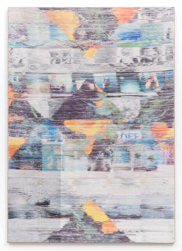 "Margo Wolowiec, ""Due North,"" Handwoven polyester, cotton, linen, dye-sublimation ink, fabric dye, 81 × 57 in, 2014. Courtesy of di Rosa."