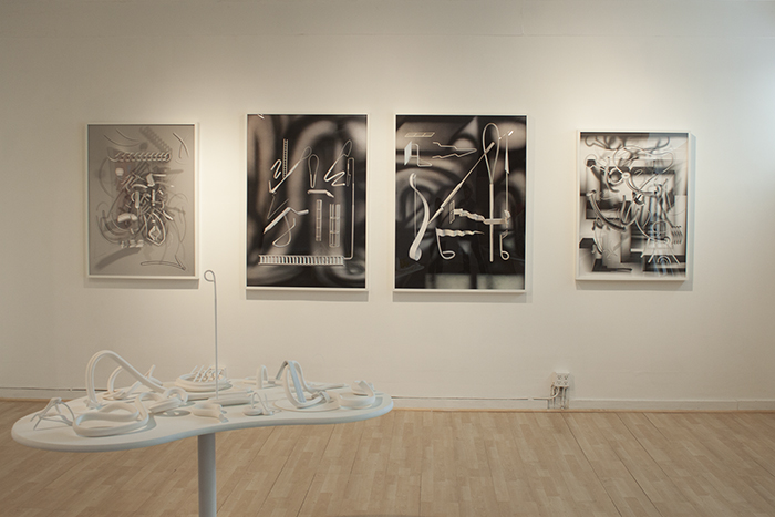 "Installation view, David Bayus, ""Sights and Sounds of Stage and Screen,"" City Limits, 2014."
