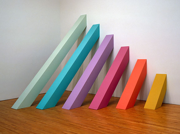 "Judy Chicago, ""Rainbow Pickett,"" 1965-2004. Latex paint on canvas-covered plywood. Collection of David and Diane Waldman, Waldman Family Trust, Rancho Mirage, CA. Courtesy the artist and the Brooklyn Museum, New York. Photo credit: Donald Woodman."