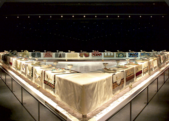"Judy Chicago, ""The Dinner Party,"" 1974-79. Ceramic, porcelain, textile, 576 in. x 576 in. Courtesy the artist and The Elizabeth A. Sackler Foundation at The Brooklyn Museum, New York."