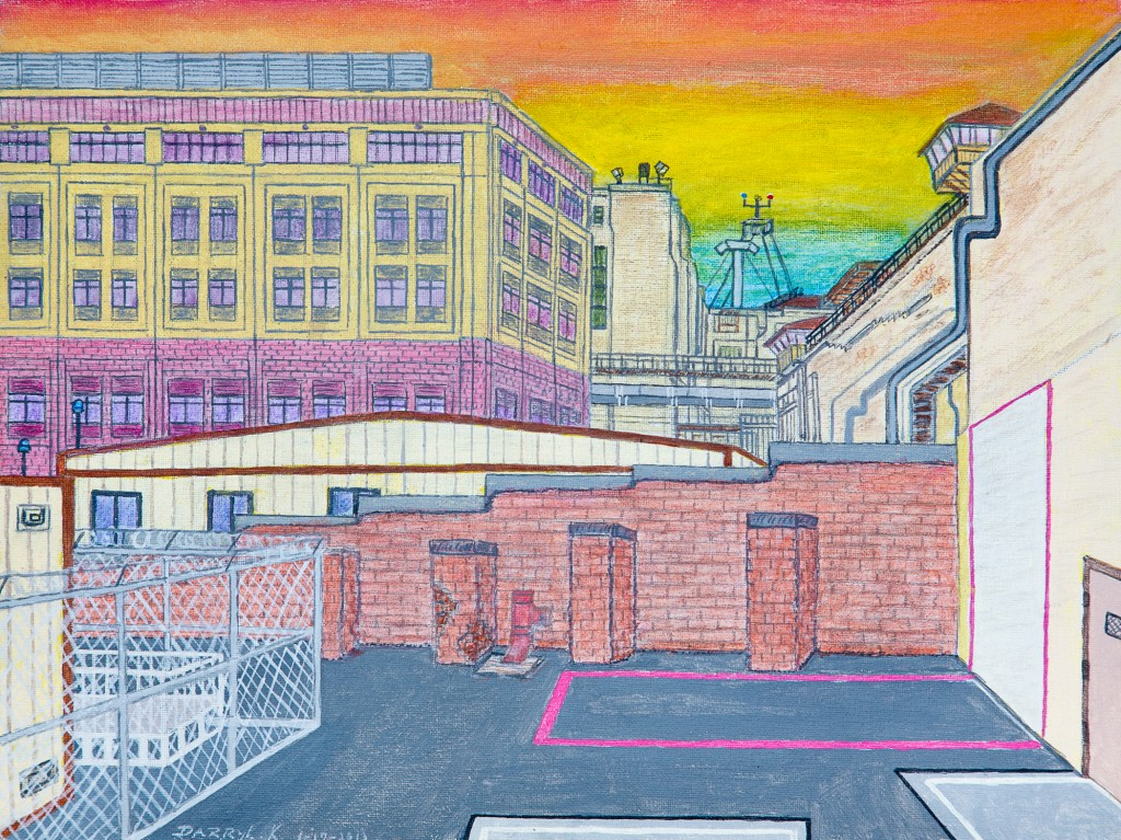"Darryl Kennedy, ""San Quentin Under Armageddon Skies,"" 2013. Acrylic, 12H x 16W. Courtesy of the artist."