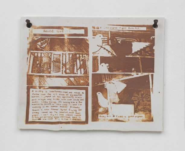 "Pat McCarthy, ""Issue 59, Pages 26-27,"" Tonal reduction fired on porcelain, 2014, 8.5 × 11 × 0.5 inches.v Courtesy of Salon 94."