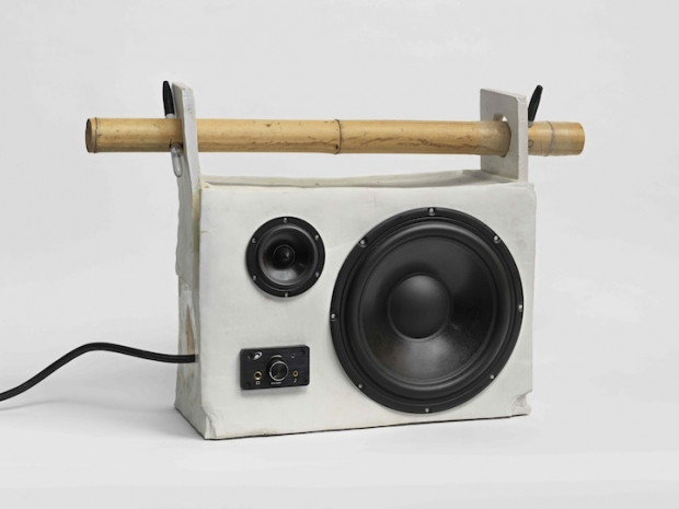 "Tom Sachs, ""Cyclops,"" Porcelain, stereo components, bamboo, and Sharpie markers, 2014, 16.5 × 26 × 8 inches.  Courtesy of Salon 94."