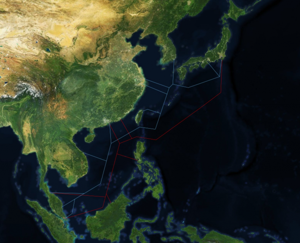 The Southeast Asia Japan Cable (a submarine cable partially owned by Google) and the Asia Pacific Gateway (a sub- marine cable partially owned by Facebook). Submarine cable data from Telegeography, satellite imagery from Mapbox.