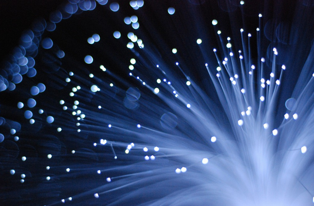 """Lit"" fiber optic cable. Courtesy of the Internet."