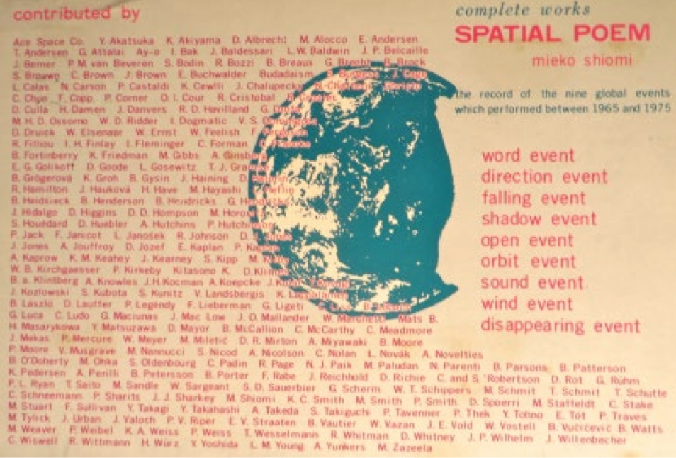 "Mieko Shiomi (Osaka, Japan), ""Spatial Poem"" (Postcard). Offset Print, 1976. Courtesy of private collection."