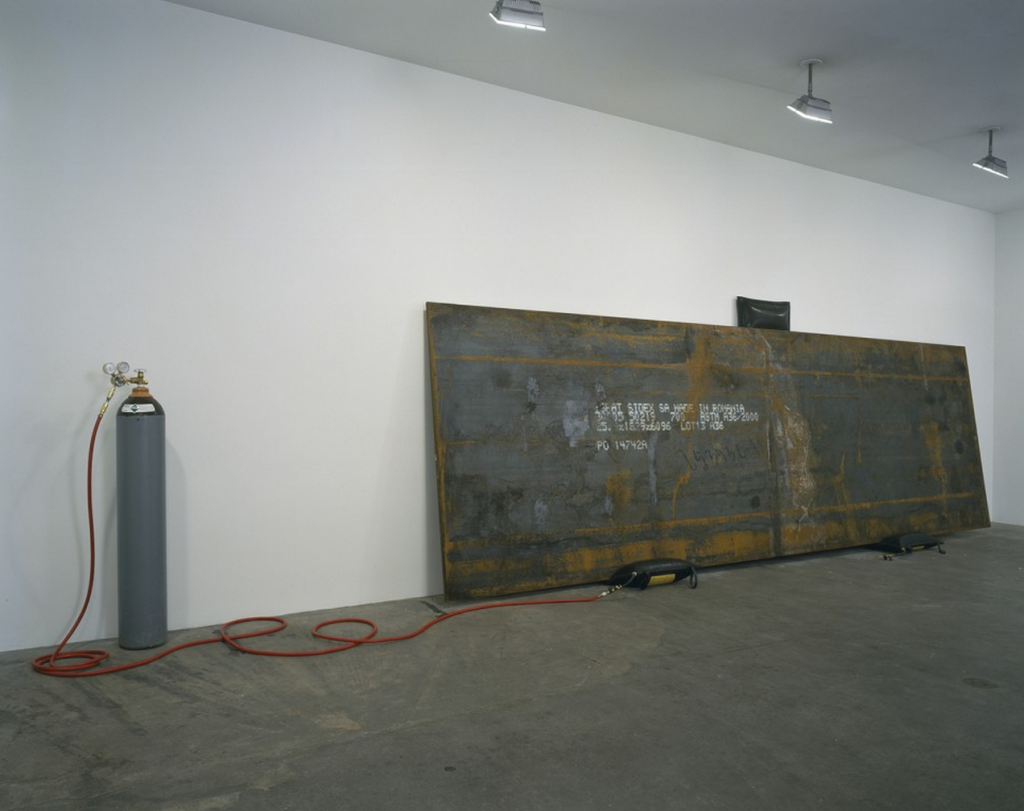 "Simon Starling, ""Bird in Space,"" 2004. Imported Romanian steel plate, inflatable jacks, and helium. Steel: 72 x 240 x 1 in. (182.9 x 609.6 x 2.54 cm) Seattle Art Museum. Image courtesy of the artist and Casey Kaplan, New York."