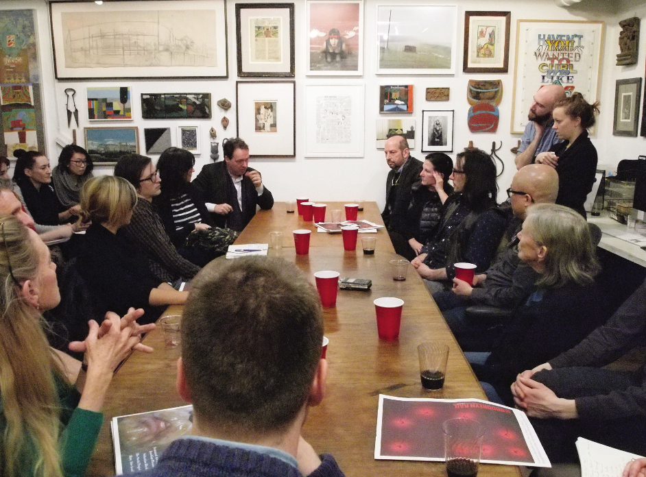 Editorial meeting at the Rail Editorial Room with Guest Art Editor Joachim Pissarro (March 2014). Dorothea Rockburne, David Carrier, among others, in the audience.