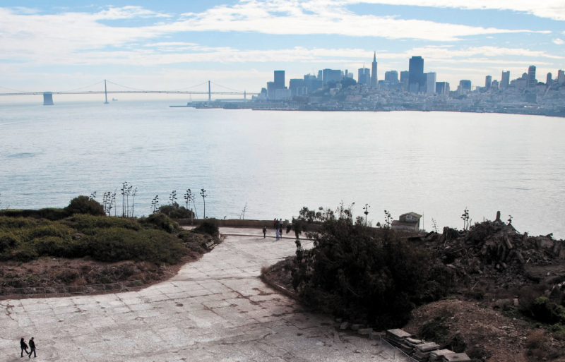 View of San Francisco from Alcatraz Island, site of the exhibition @Large: Ai Weiwei on Alcatraz. Photograph by Jan Sturmann. Courtesy of FOR-SITE Foundation.