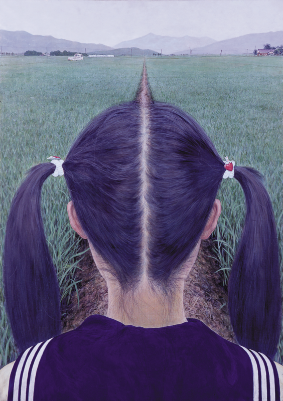 """Makoto Aida, """"AZEMICHI (a path between rice fields),"""" 1991. Japanese mineral pigment, acrylic on Japanese paper mounted on panel, 73 x 52 cm. Collection of Toyota Municipal Museum of Art, Aichi."""