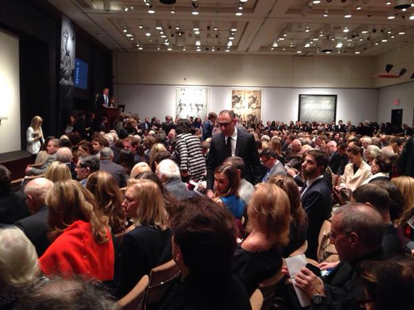 "Jerry Saltz posted on his Instagram (@jerrysaltz) this photo of Christie's November auction with the caption, ""Oh good. Over 750 white collectors at Christies."""