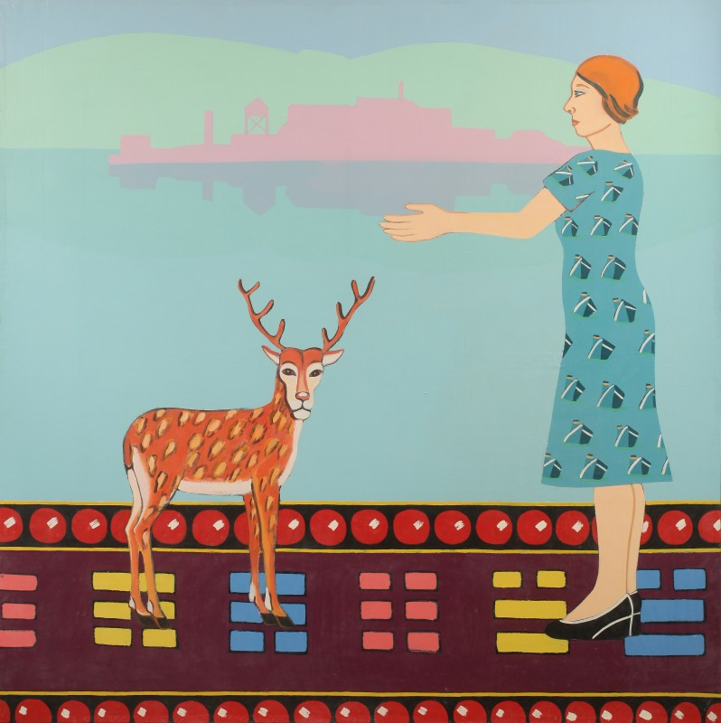 """Joan Brown, """"Adventures of a Woman #2, 1975. Enamel on canvas. 78 1/2 in. x 79 in. Courtesy of Gallery Paule Anglim."""