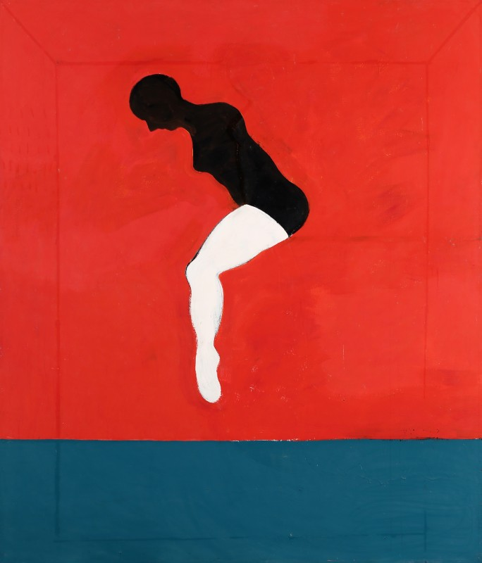 "Joan Brown, ""Woman Jumping,"" 1974. Oil on canvas. 84 in. x 72 in. Courtesy of Gallery Paule Anglim."