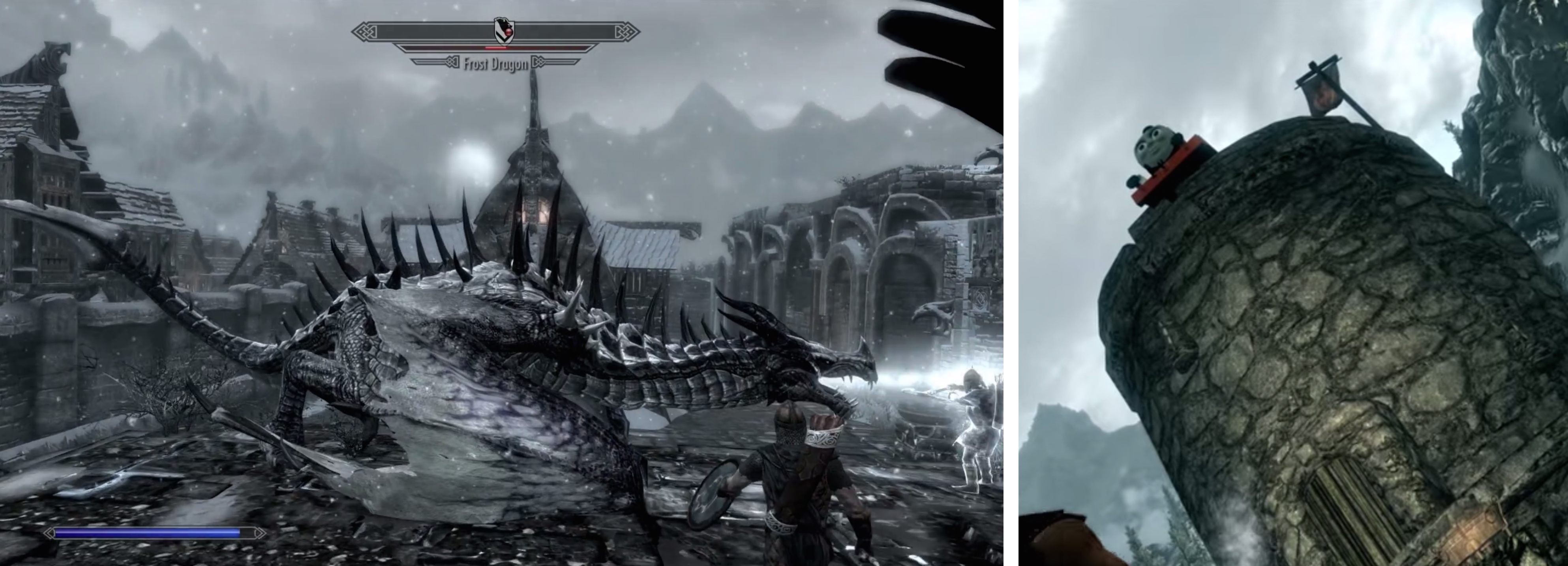 "[Left] A dragon and [right] Thomas the Tank Engine massacre a town in Skyrim, developed by Bethesda Game Studios, 2011. ""Really Useful Dragons"" Thomas the Tank Engine mod by Trainwiz and friends. Courtesy of the Internet."