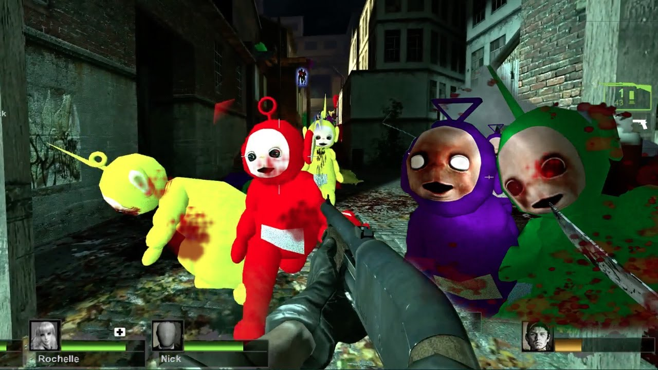 Teletubbies mod for Left 4 Dead created by Spartan46. (Note: these are note zombies.)