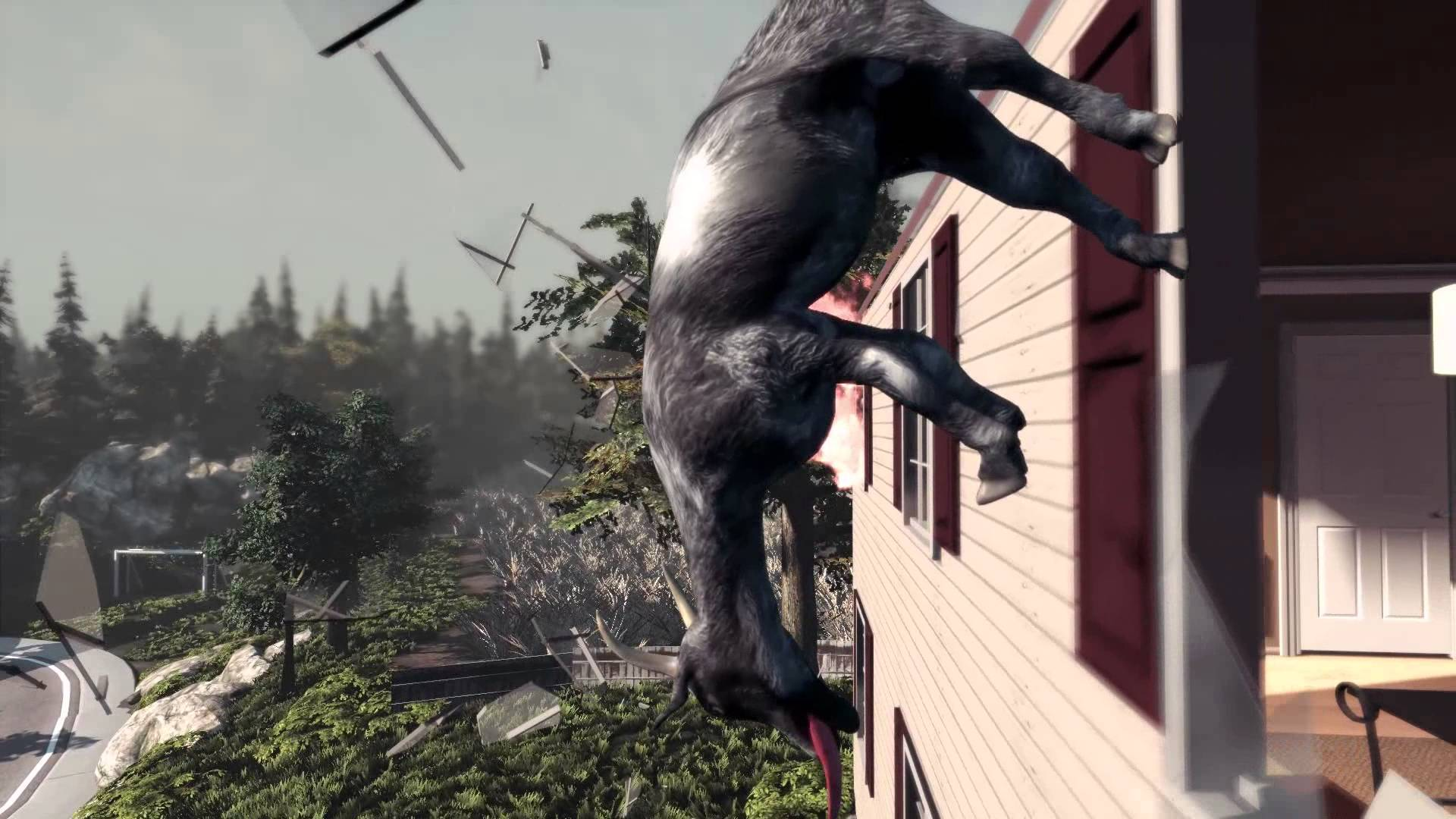 Naturally, a goat breaks through a window in Goat Simulator.