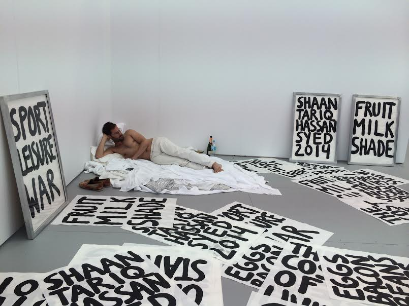 Shaan Syed at Ana Cristea Gallery, Bed In, an impromptu protest staged after the artist's work was held in customs in London for the first two days of the fair.