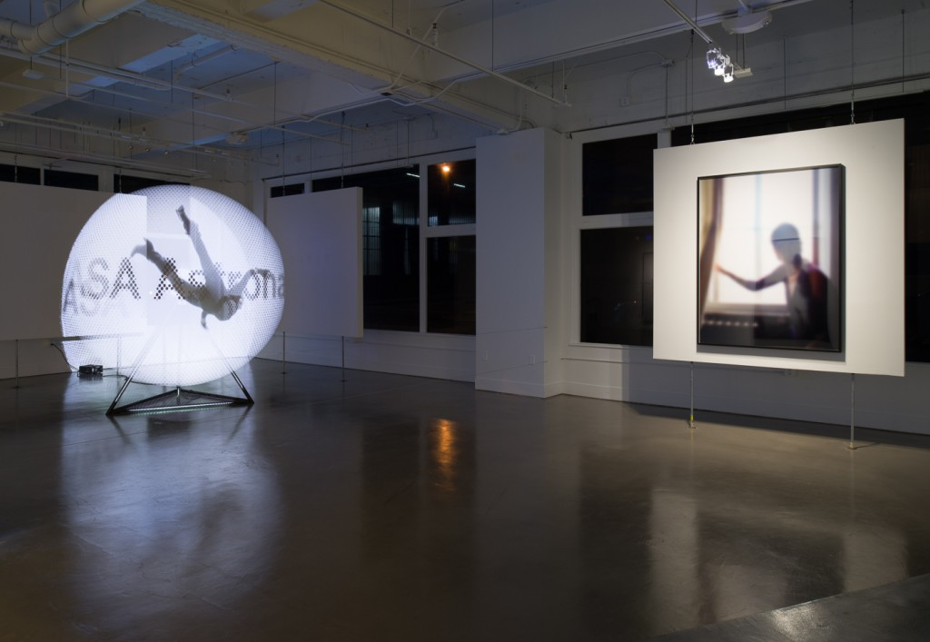 "Eva Schlegel, ""No Man's Heaven,"" 2014. Rotor, video projection 94 inches (240 cm) diameter; 300 rpm (Running time 8 minutes). Installation photos Johnna Arnold. Courtesy of Eve Schlegel and Gallery Wendi Norris."