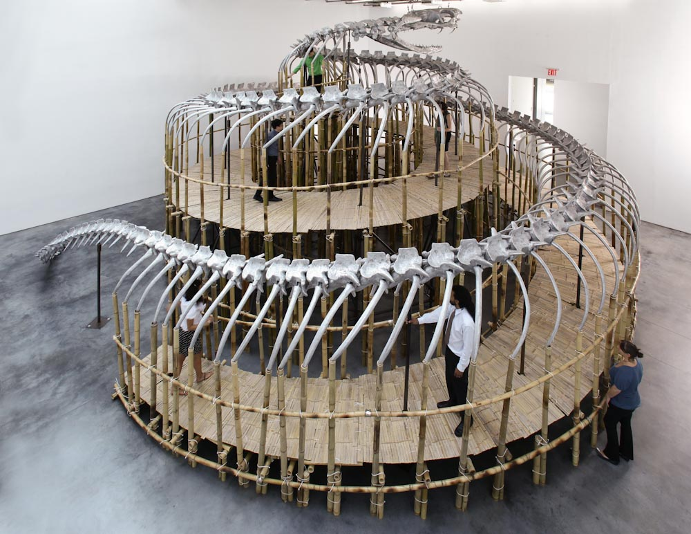 Huang Yong Ping, Tower Snake, 2009. Aluminum, bamboo, steel, 22 x 39 x 37 feet. Courtesy of Gladstone Gallery.