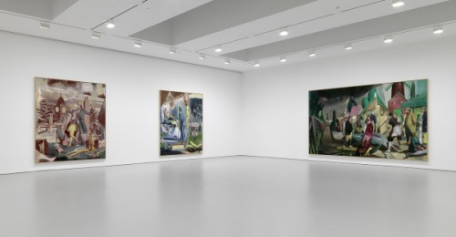 "Installation view, ""At the Well,"" Neo Rauch at David Zwirner Gallery, New York, 2014. Courtesy of David Zwirner Gallery."