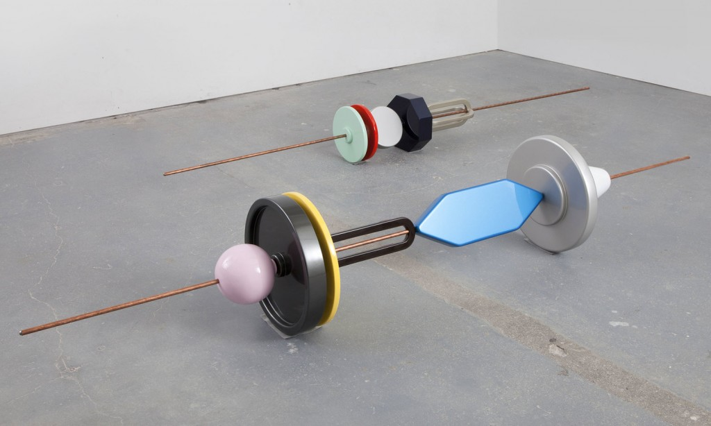 Reuven Israel, SMLD1 and SMLD2, 2012. Copper coated steel rod and painted MDF, 96 x 15.5 x 15.5 inches and 96 x 10 x 10 inches, respectively. Courtesy of Fridman Gallery.