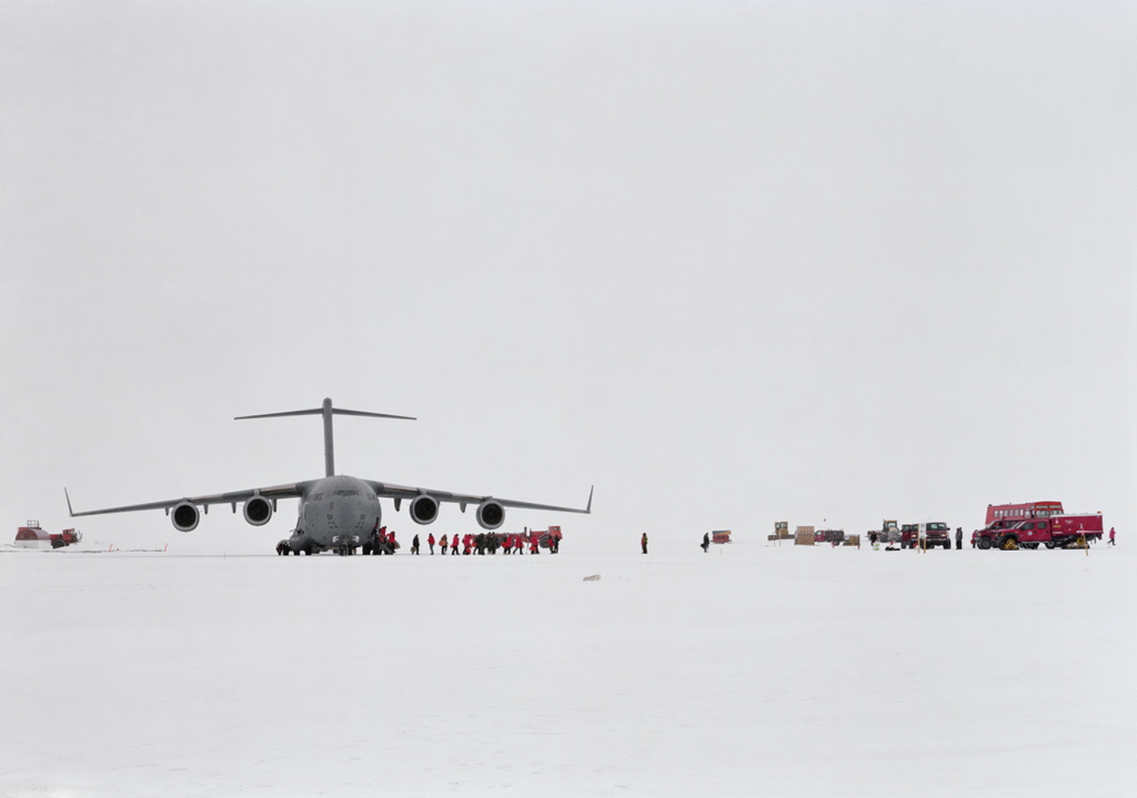 "An-My Lê, ""C-17, Pegasus Ice Runway, Antarctica,"" (2008). Archival pigment print. 40 x 56 1/2 in. Courtesy of the artist and Murray Guy Gallery."