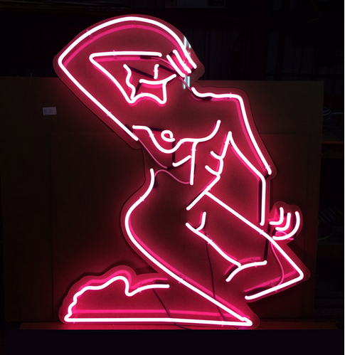 Mira Dancy, Street Ofelia (neon pink), 2014. Neon, plexiglass, 60 × 48 inches. Courtesy of Night Gallery.