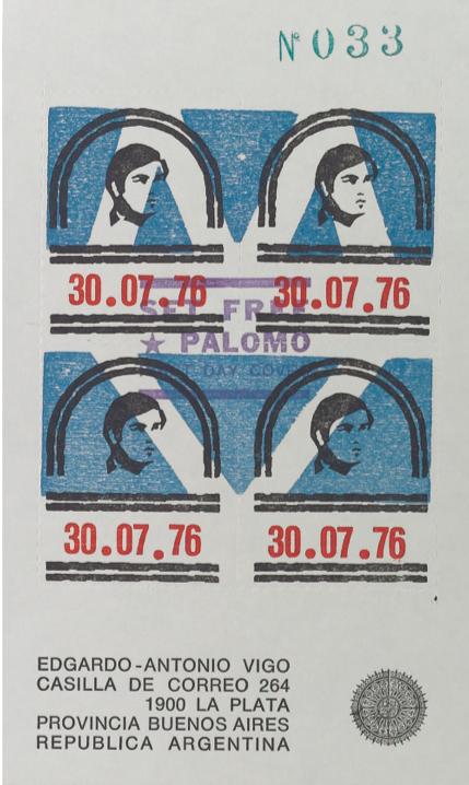 Edgardo-Antonio Vigo, Set Free Palomo First Day Cover, 1976. Postcard. La Plata, Argentina. Collection of John Held, Jr.