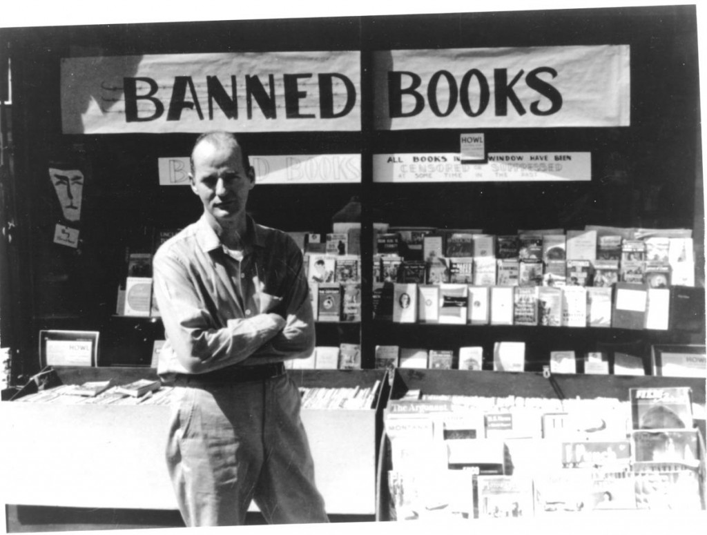 Lawrence Ferlinghetti in front of City Lights, then featuring a host of banned books. Courtesy of the Internet.