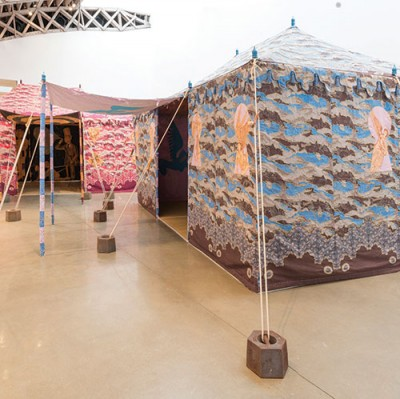 "Installation view, ""Two Tents,"" Francesco Clemente at Mary Boone Gallery, New York, 2014. Courtesy of Mary Boone Gallery."