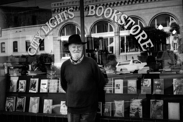 Lawrence Ferlinghetti in front of City Lights in 1996, as seen in Ferlinghetti: A Rebirth of Wonder, a film by Chris Felver. Photograph by Chris Felver.
