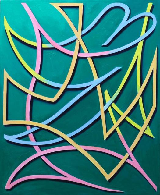 Daichi Takagi, four color line, 2013. Oil on canvas, 23 9/10 × 19 7/10 inches. Courtesy of KAYOKOYUKI.