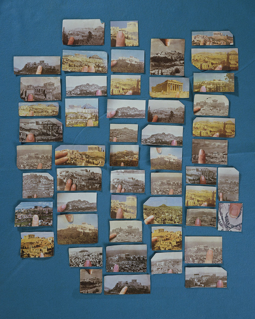 Sara Cwynar, Encyclopedia Grid (Acropolis), 2014. Chromogenic print, mounted on plexiglas, 40 × 32 inches. Edition of 3 + 2AP. Courtesy of Foxy Production.